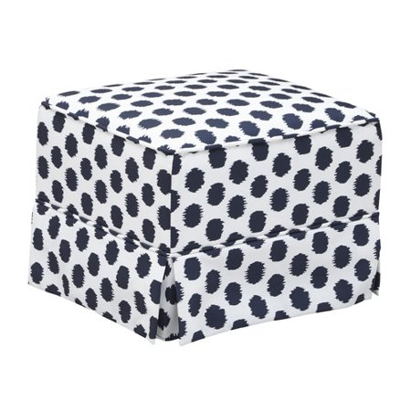 Storkcraft Polka Dot Upholstered Ottoman White and Navy Blue
