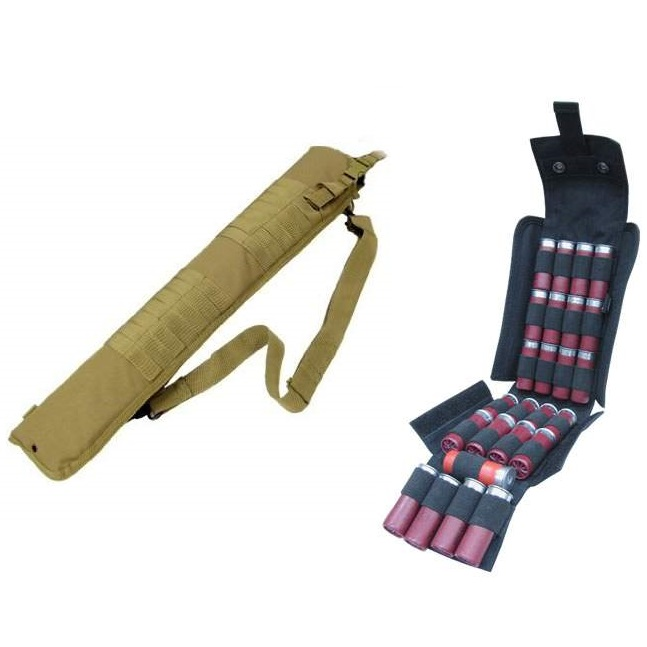 "Ultimate Arms Gear Tactical 29"" Coyote Tan Molle Scabbard For Winchester 1200 / 1300 / Super X SXP X3 12 Gauge Shotgun + Tactical Black Molle 25 Shot Shell Ammo Carrier Pouch"