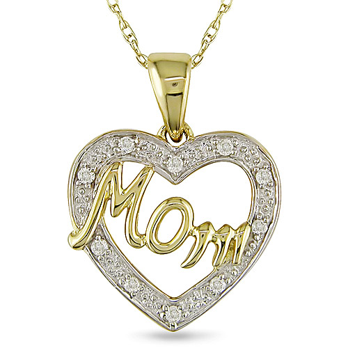 "10kt Two-Tone Gold 0.05ct TDW Diamond Heart Mom 17""  Pendant"
