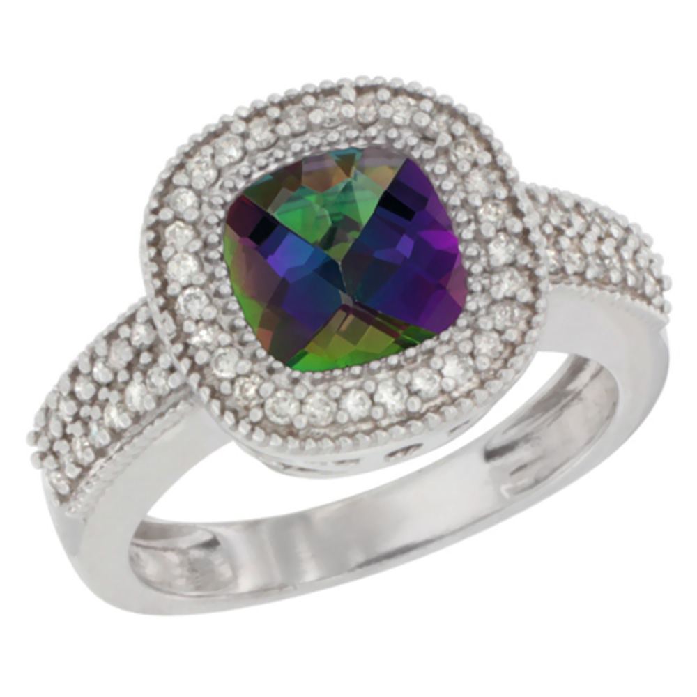 10K White Gold Natural Mystic Topaz Ring Cushion-cut 7x7mm Diamond Accent, sizes 5-10