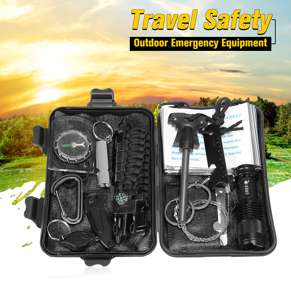 13 in 1 SOS Kit Outdoor Emergency Supplies Equipment Box Package For Camping Survival Gear Kit Tactical Hiking Camping