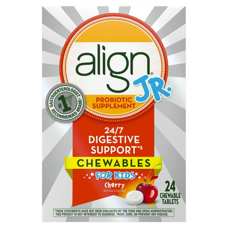 Align Jr. Chewables for Children, Daily Probiotic Supplement for Kids Digestive Health, Cherry Smoothie Flavor, 24 count, #1 Recommended Probiotic by Brand by
