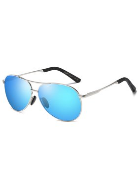 d0c0de7135 Product Image Cyxus Aviator Spring Hinges Polarized Sunglasses with Silver  Frame Blue Lens