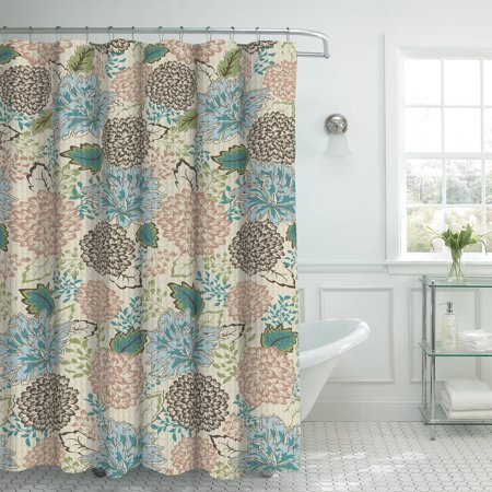 Bounce Comfort Oxford Weave Textured 13 Piece Shower Curtain Set With Metal Roller Hooks Sonrie Berber