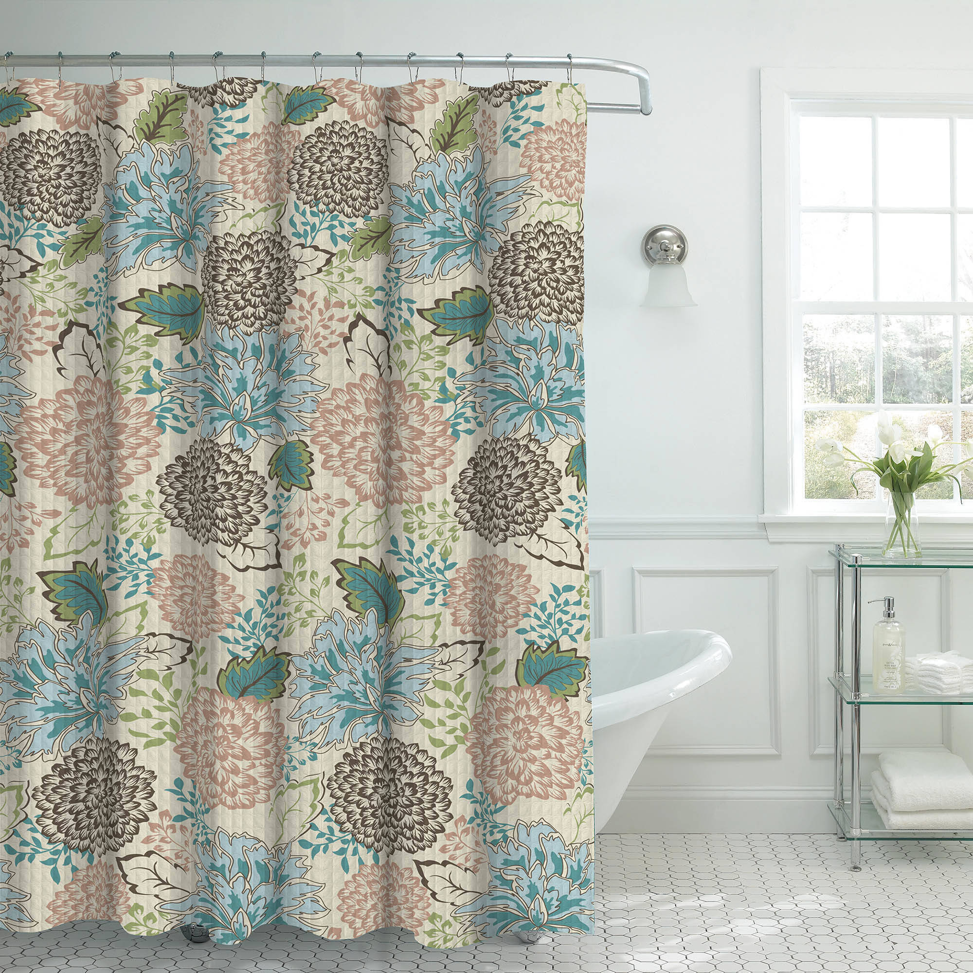 Bounce Comfort Oxford Weave Textured 13-Piece Shower Curtain Set with Metal Roller Hooks, Sonrie Berber