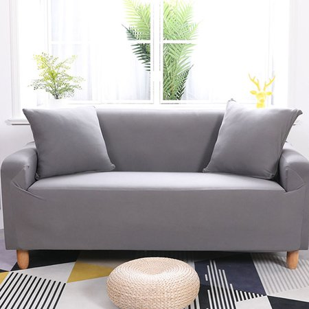 Tbest 3 Seater Sofa Cover, Household Stretch Elastic Sofa Couch Furniture  Protective Loveseat Slipcover Covers Home Office Hotel Decor (Grey)