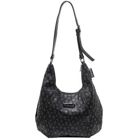 Women's Sourpuss Lust For Skulls Hobo Purse Black (Sourpuss Handbags)
