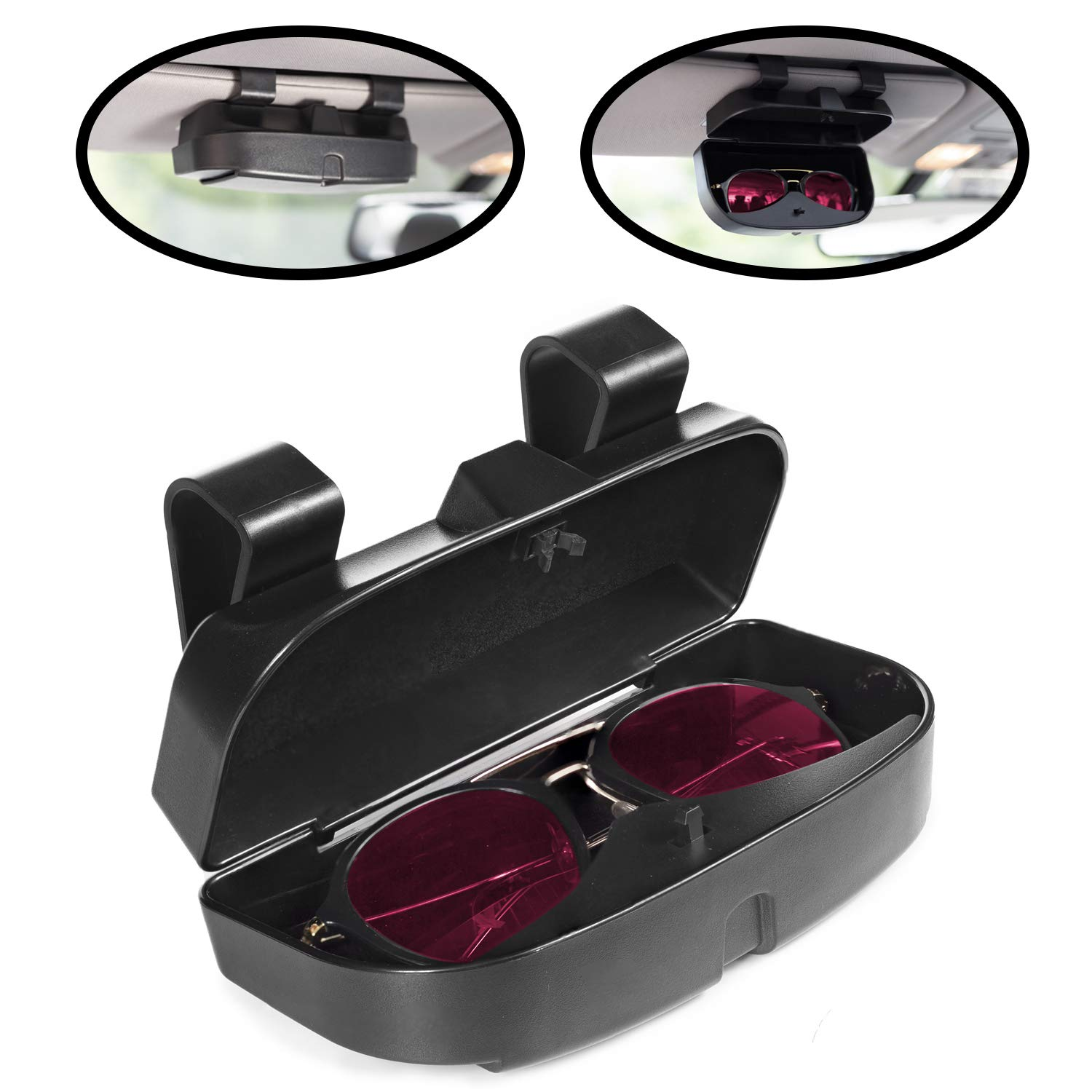 MOSISO Car Visor Sunglasses Case Pink Universal Automotive ABS Eyeglasses Holder Protective Box Clip Eyewear Hard Shell Storage Organizer with Magnetic Closure and Double Card Clamp
