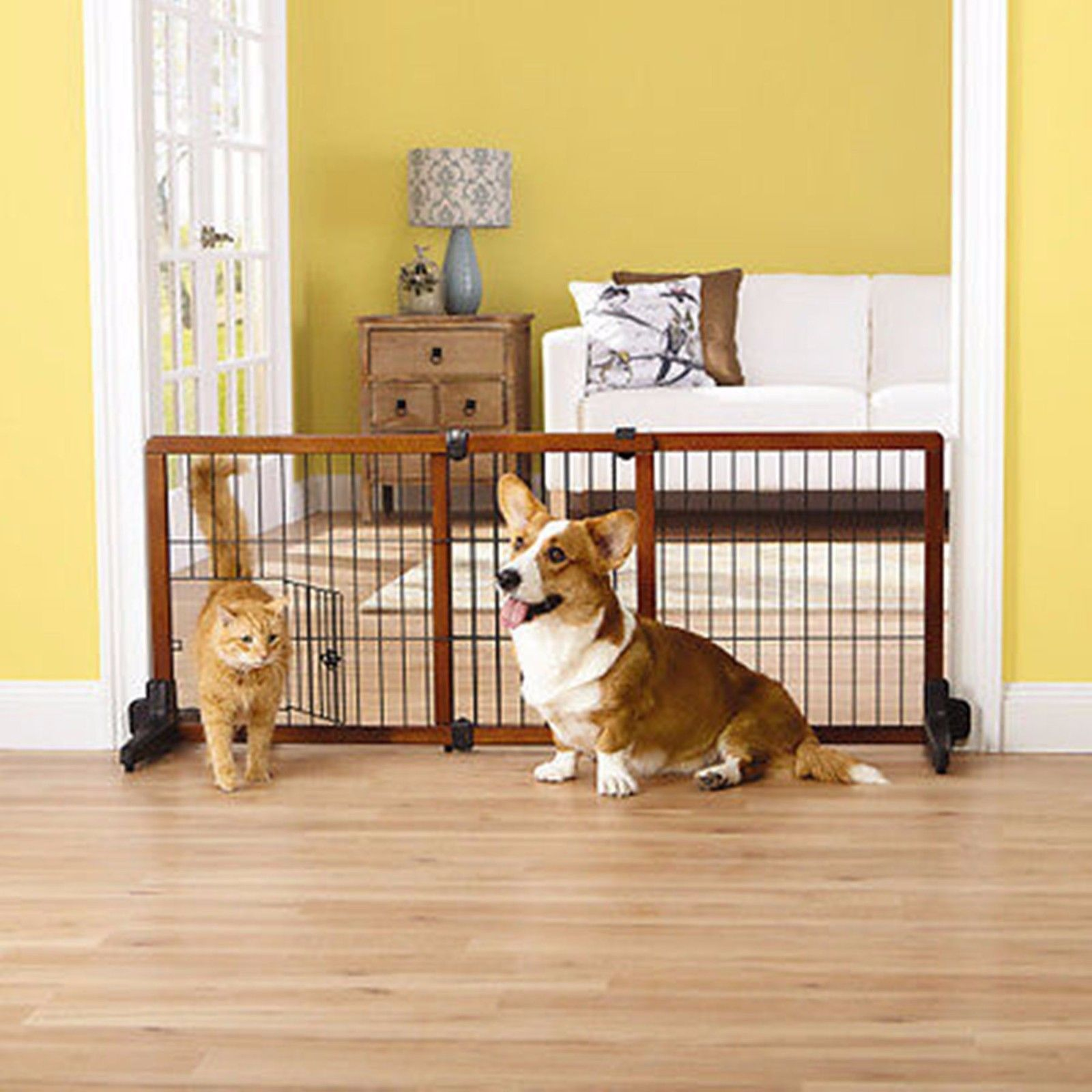 Merveilleux Top Paw Free Standing Adjustable Wooden Pet Gate W Small Door   New   Open  Box   Walmart.com