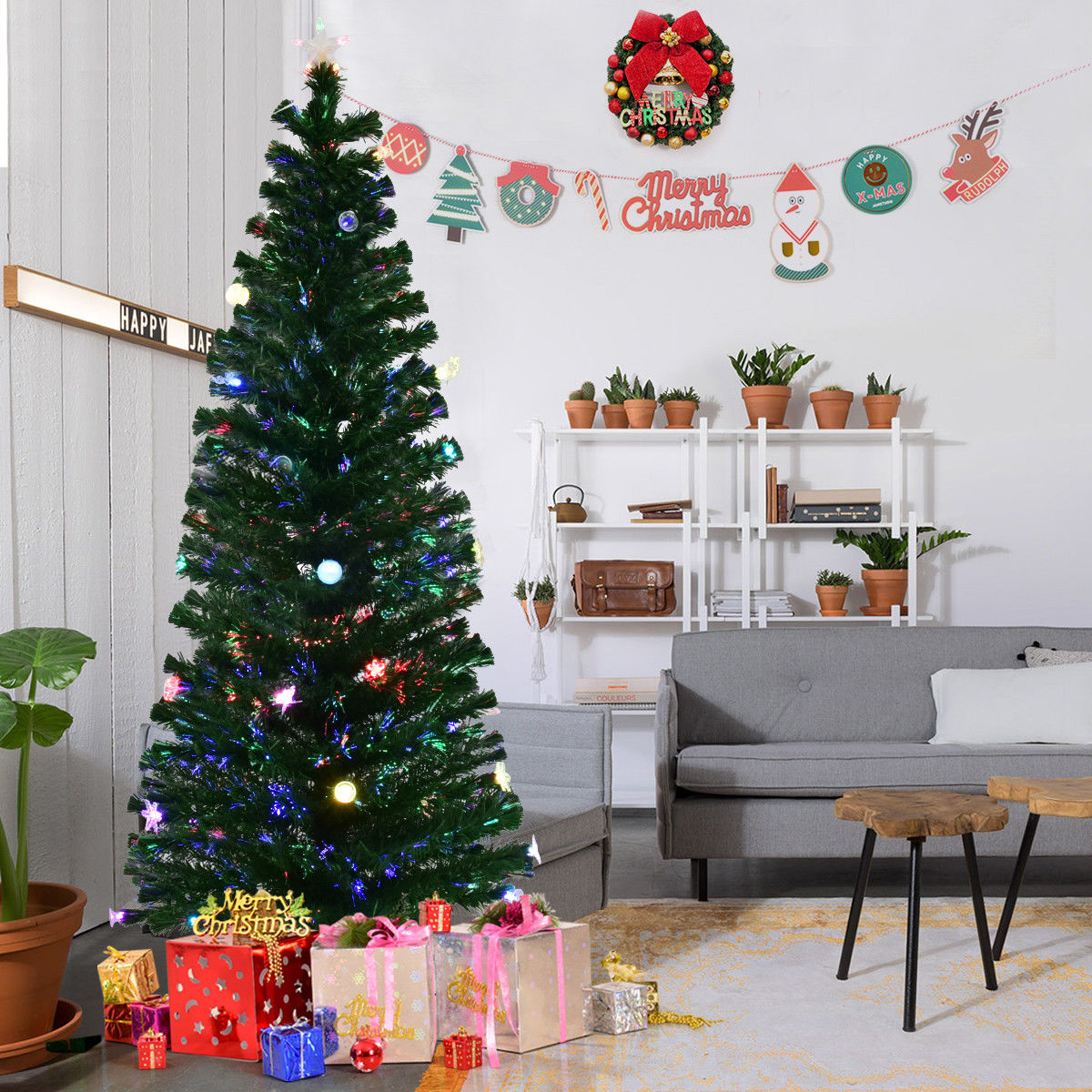 Gymax Pre-Lit 7' Fiber Optic Multicolor LED Lights Artificial Christmas Tree Metal Stand