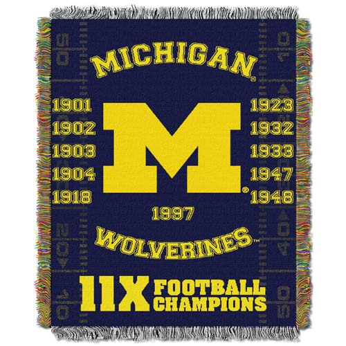 Michigan Commerative Jacquard Woven Blanket