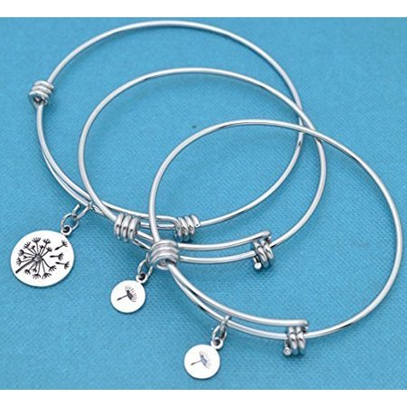 Mother Daughter and two daughters bangle bracelets in silver stainless steel with sterling silver dandelion charms. Mother, two daughters.