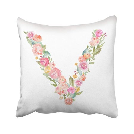 ARTJIA Watercolor Floral Alphabet Monogram Letter V Made Of Flowers Abcs Leaves Uppercase Pillowcase Pillow Cover 18x18 inches