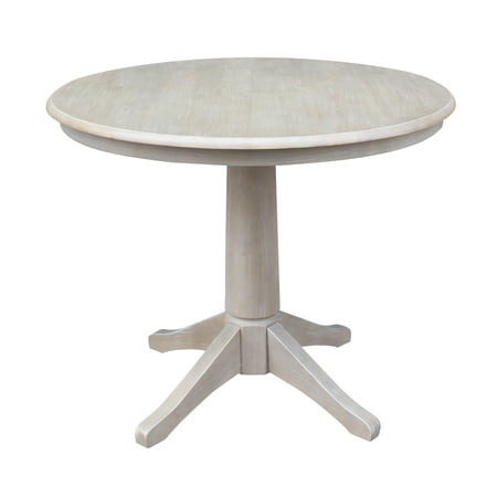 "Round Top 36"" x 36"" Solid Wood Pedestal Dining Table in Washed Gray Taupe"