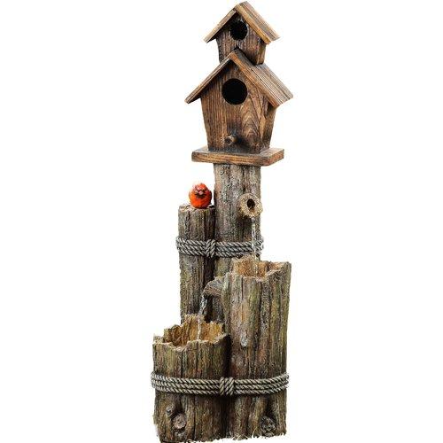 Three Tiered Birdhouse with Cardinal Fountain by Alpine Corporation