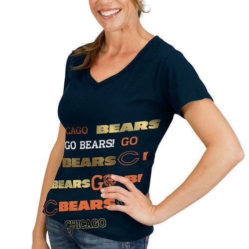 Chicago Bears Ladies Navy Blue Bling Diva Premium V-neck ...