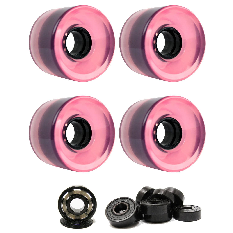 LONGBOARD CRUISER WHEELS 60mm x 44mm 83A 7424C Pink Clear CERAMIC BEARINGS
