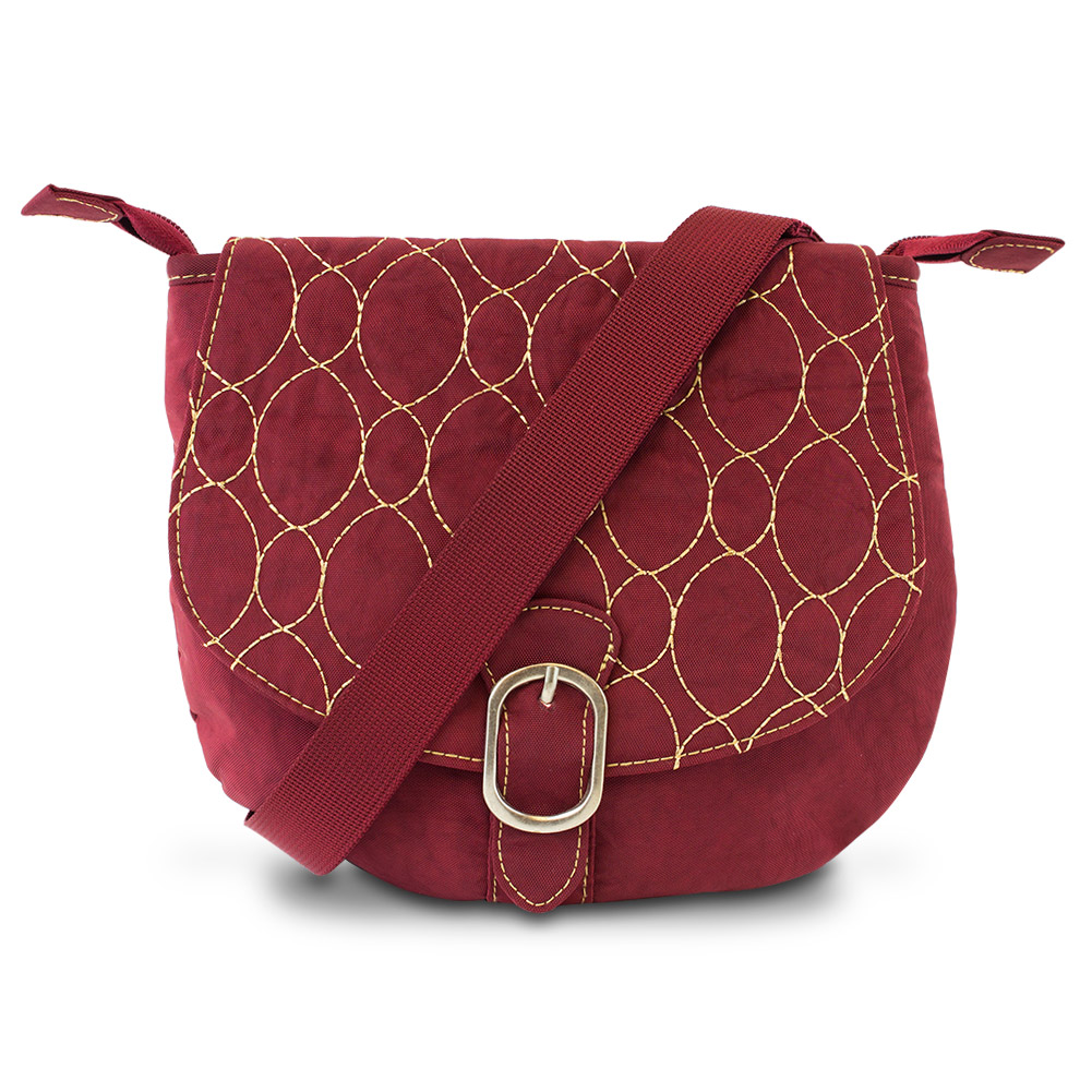 Travelon Crinkle 3-Compartment Flapover Shoulder Bag (Merlot)