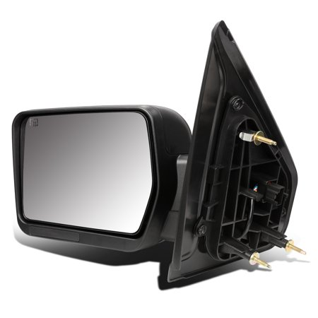 For 2004 to 2014 Ford F150 Black Powered Heated Signal Glass + Manual Folding Side Towing Mirror (Left / Driver) Manual Extending Tow Mirrors