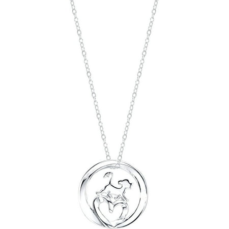 - Disney Sterling Silver The Lion King Mobius Heart with Simba Necklace, 18