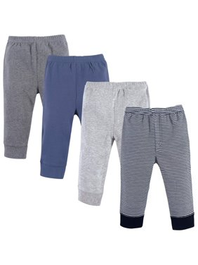 Luvable Friends Baby Boy Tapered Ankle Pants, 4-pack