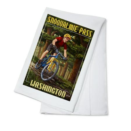 Snoqualmie Pass  Washington   Mountain Biker In Trees   Lantern Press Poster  100  Cotton Kitchen Towel