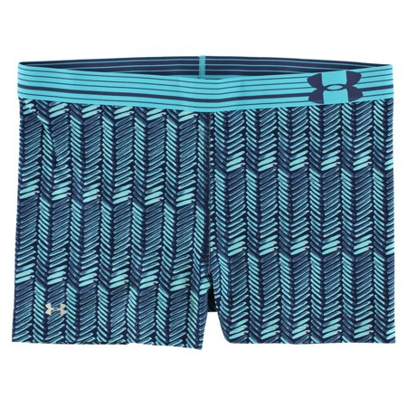 Under Armour Womens HeatGear Alpha Printed Compression Shorty Shorts Blue XS