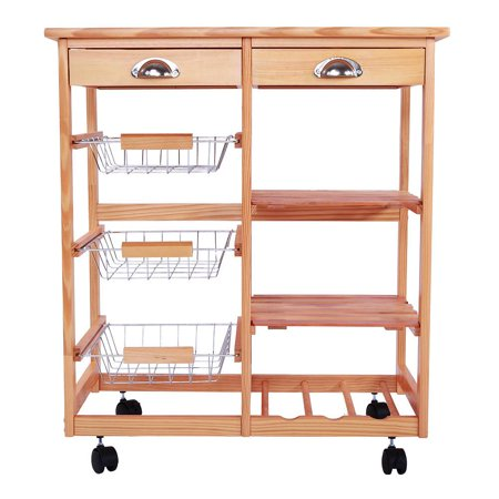 Ktaxon Rolling Wood Kitchen Trolley Island Utility Storage Cart With Drawers Baskets On Wheels