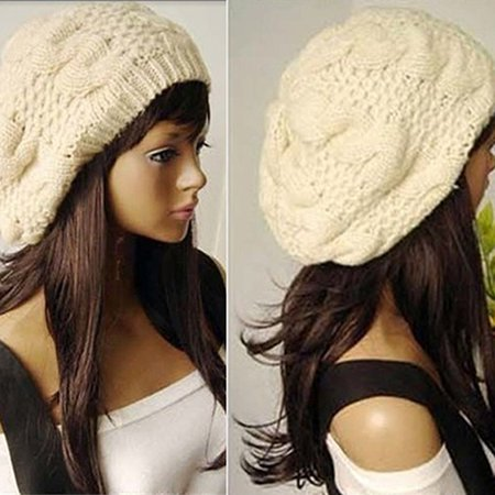 Girl12Queen Women Sweet Crochet Warm Solid Color Beret Artist Baggy Beanie Winter Hat Gift