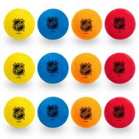 Franklin Sports Knee Hockey Balls - Indoor Mini Foam Hockey Balls for Kids - 12 Soft Foam Hockey Balls - Drawstring Bag