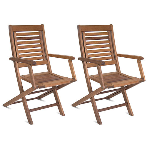 Milano FSC Eucalyptus Wood Folding Armchairs, Set of 2