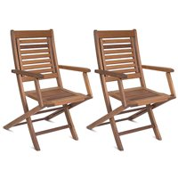 Milano FSC Brown Eucalyptus Wood Folding Armchairs, Set of 2
