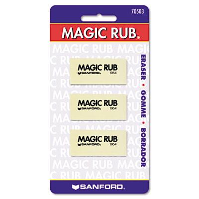 MAGIC RUB Art Eraser, Vinyl, 3/Pack, Sold as 1 Package, 3 Each per Package