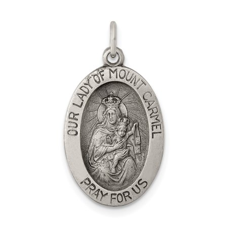 925 Sterling Silver Our Lady Of Mt.carmel Medal Pendant Charm Necklace Religious Mt Carmel Fine Jewelry For Women Gifts For Her - image 1 de 6