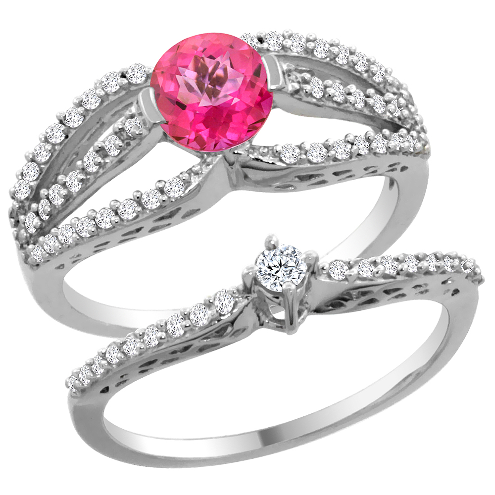 14K White Gold Natural Pink Topaz 2-piece Engagement Ring Set Round 5mm, size 5 by Gabriella Gold