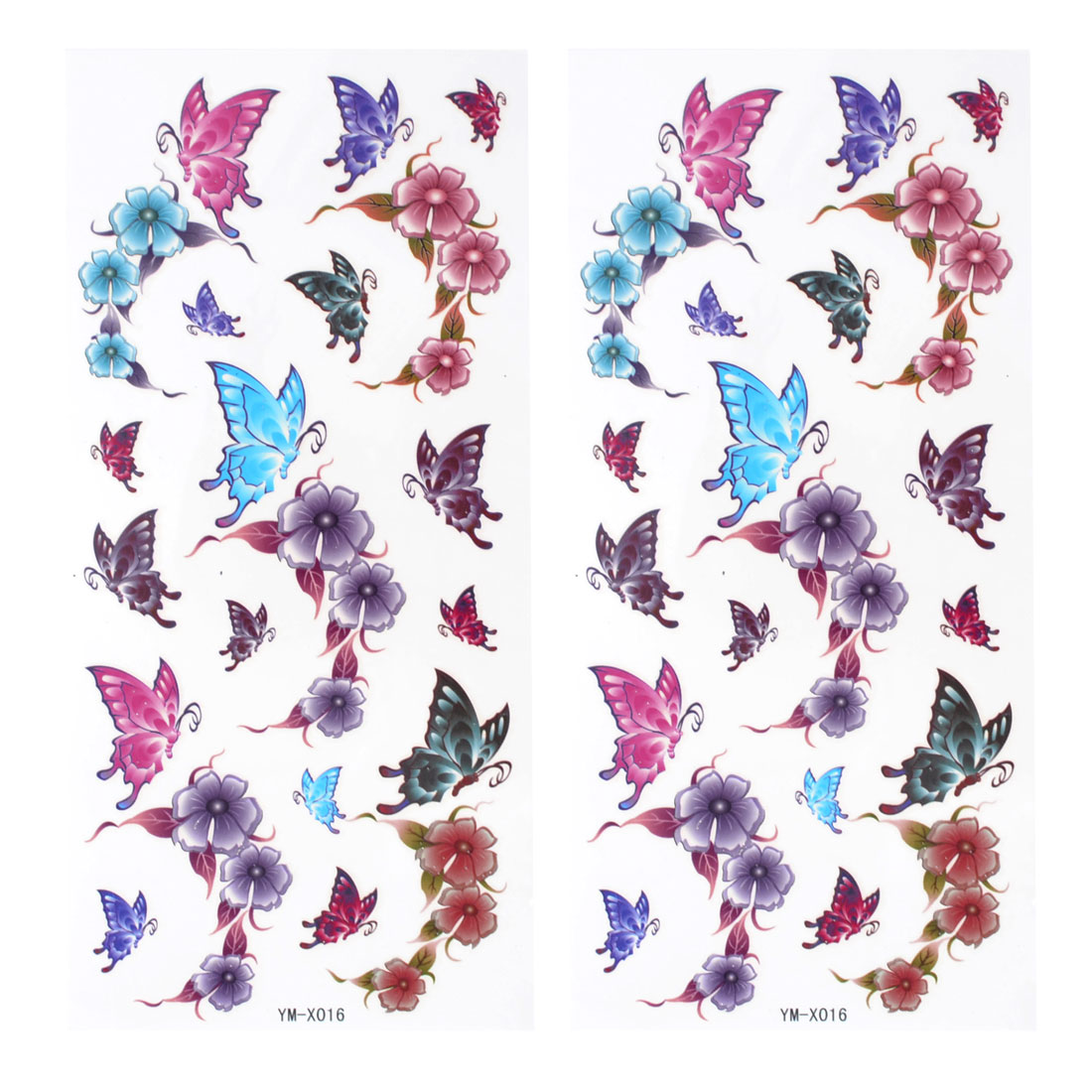 Unique Bargains Colorful Butterfly Flwer Pattern Temporary Tattoo Transfer Sticker 2 Pcs