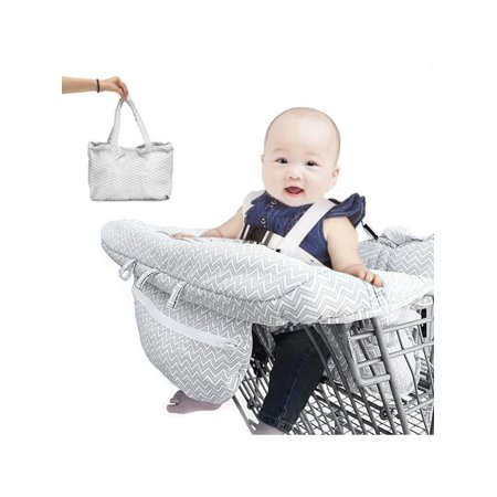 Portable Baby Kids Child Shopping Trolley Cart Seat Pad High Chair Cover Protector with Toddler Infant Safety Harness