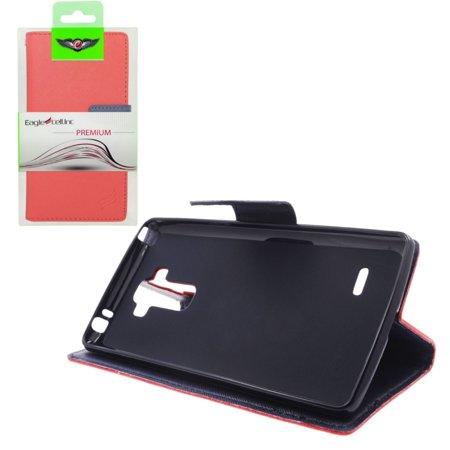 Insten Folio Leather Fabric Cover Credit Card Stand Case Lanyard for LG G Stylo / G Vista 2 - Red/Blue - image 3 de 4