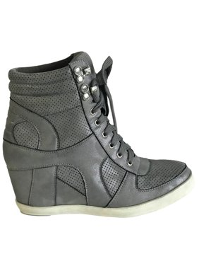a063d6a2ed1 Product Image Dakota-08 Womens Hidden Wedge Low Mid Heel Ankle Boots  Sneakers Zip up Lace Up