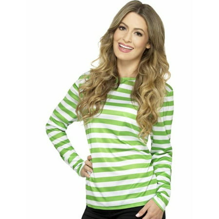 Halloween Jobs Nyc (Green And White Striped Long Sleeve Shirt Where's Waldo Costume Wally Punk)