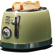 Retro-Style 2 Slice Toaster, Multifunction Breakfast Machine, 6 Browning Settings, Defrost,Reheat and Cancel Functions,Removable Crumb Tray, Green