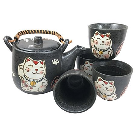 Japanese Design Maneki Neko Lucky Cat Black Ceramic Tea Pot and Cups Set Serves 4 Beautifully Packaged in Gift Box Excellent Home Decor Asian Living Gift for Chefs Moms And -