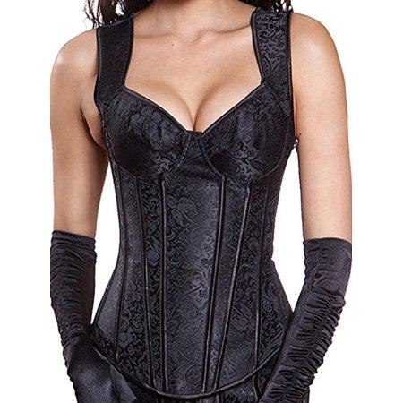 SAYFUT Womens Retro Halloween Costume Corset Top Body Shaper Jacquard Adjustable Zipper Up Vest Overbust Corset Bustier (Wonder Woman Costume Corset Top)