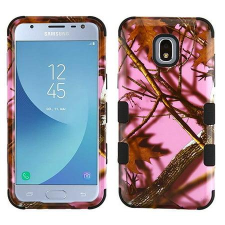 Samsung Galaxy J3 2018, J337, J3 V, J3 3rd Gen, J3 Star, J3 Achieve, Express Prime 3 Phone Case Tuff Hybrid Shockproof Impact Rubber Dual Layer Hard Soft Protective Hard Case Cover Pink Oak Phone