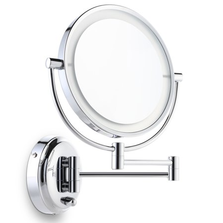 Miusco 7X Magnifying Lighted Makeup Mirror, Wall Mount, 8 inch Two Sided White Daylight LED Shadow Free LED Bathroom Vanity Mirror, Chrome (Vanity Mirror Wall Mount)