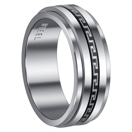 Gem Avenue Men's Stainless Steel Greek Key Design 8 mm Band Spinner Size