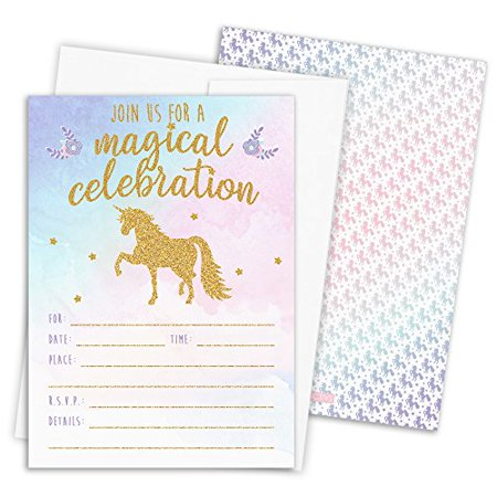 Magical Unicorn Party Invitations with Self-Sealing Envelopes, 12 Count - Funny Halloween Birthday Invitations