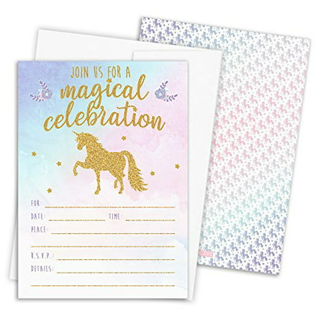 Magical Unicorn Party Invitations with Self-Sealing Envelopes, 12 Count - Golden Ticket Birthday Invitation