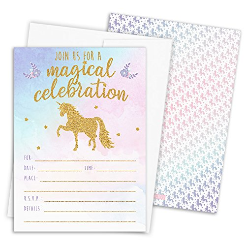 Magical Unicorn Party Invitations with Self-Sealing Envelopes, 12 Count