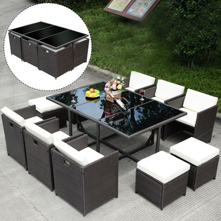 - Costway 11 PCS Outdoor Patio Dining Set Metal Rattan Wicker Furniture Garden Cushioned